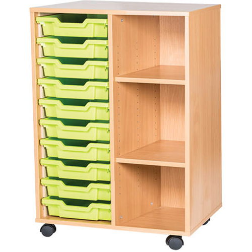 classroom 10 tray double bay mobile static storage unit 943mm