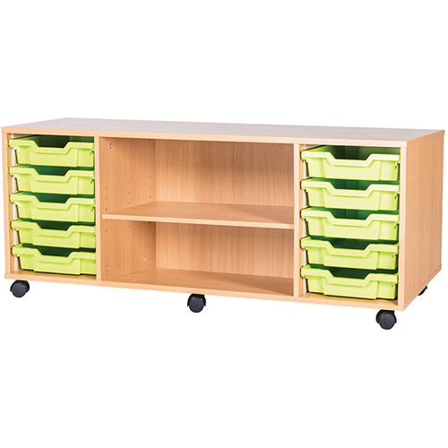 classroom 10 tray mobile static storage unit 533mm high