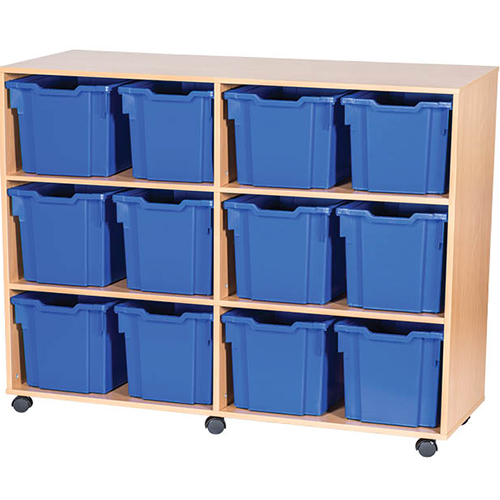 12-Jumbo-Tray-Quad-Bay-Mobile -Static-Classroom-Storage-Unit-Nobis-Education-Furniture