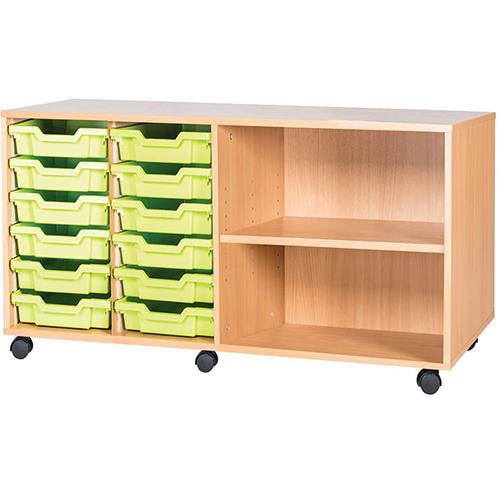 classroom 12 tray quad bay mobile static storage unit 615mm high