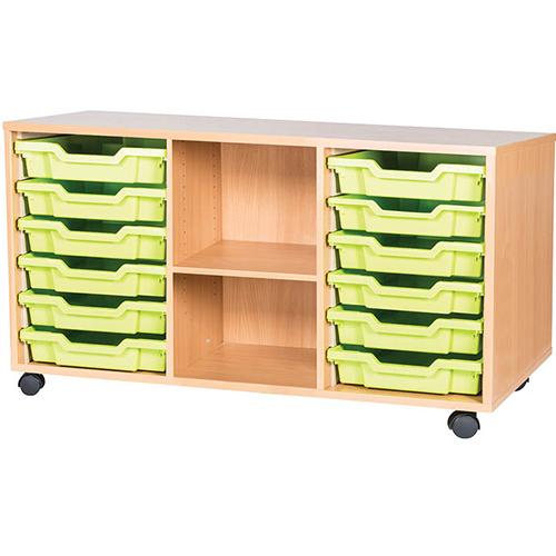 classroom 12 tray triple bay mobile static storage unit 615mm high
