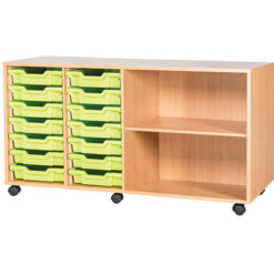 classroom 14 tray quad bay mobile static storage unit 697mm high