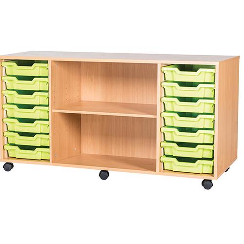 classroom 14 tray quad bay mobile static storage unit 697mm high