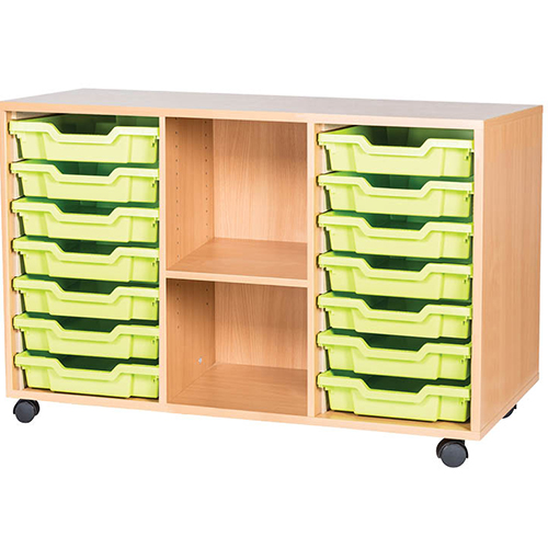 classroom 14 tray triple bay mobile static storage unit 697mm high