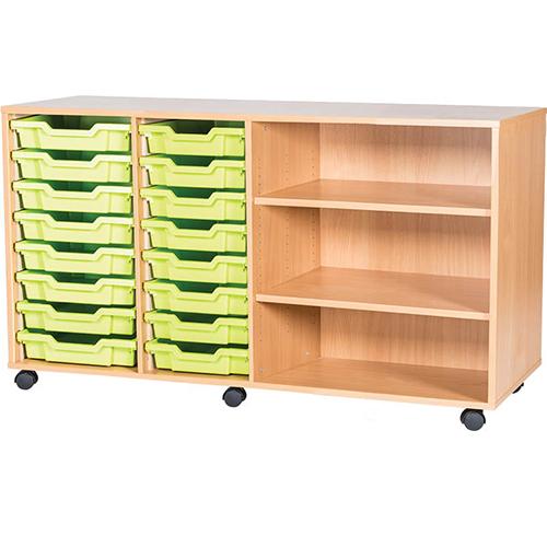 classroom 16 tray quad bay mobile static storage unit 779mm high