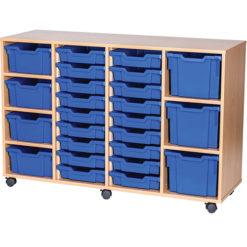 25-Mixed-Tray-Quad-Bay-Mobile -Static-Classroom-Storage-Unit-Nobis-Education-Furniture