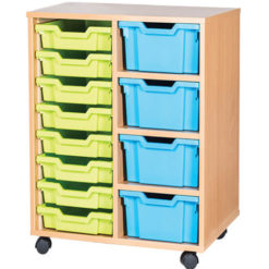 4-Deep-8-Shallow-Tray-Double-Bay-Mobile-Static-Classroom-Storage-Unit-Nobis-Education-Furniture