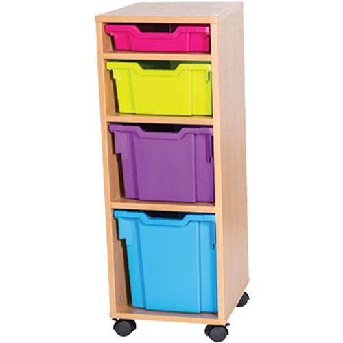 4-Mixed-Tray-Single-Bay-Mobile-Static-Classroom-Storage-Unit-Nobis-Education-Furniture