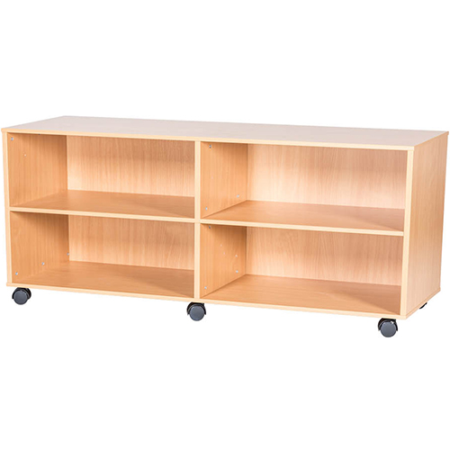 5-High-Quad-Bay-Open-Mobile-or-Static-Classroom-Storage-Unit-with-2-Fixed-Shelves-533mm-High-Nobis-Education-Furniture