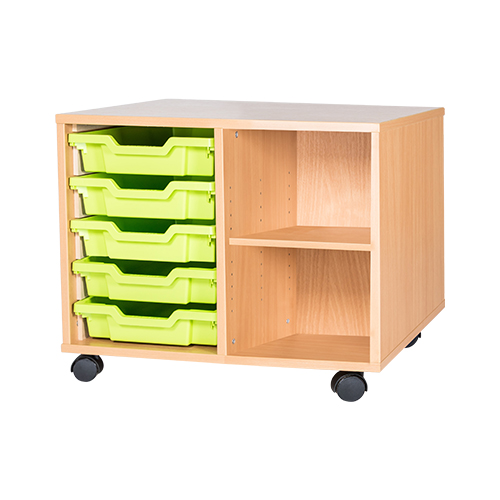 classroom 5 tray mobile static unit with shelf 533mm high