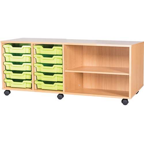 classroom 5 tray mobile static storage unit 533mm high