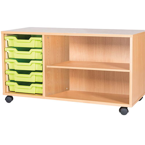 triple bay 5 tray mobile static classroom stoarge unti with shelf 533mm high