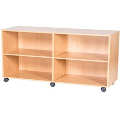 6-High-Quad-Bay-Open-Mobile-or-Static-Classroom-Storage-Unit-with-2-Fixed-Shelves-615mm-High-Nobis-Education-Furniture