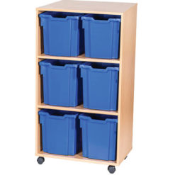 6 Jumbo Tray Double Bay Mobile or Static Classroom Storage Unit