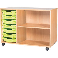 classroom 7 tray triple bay storage unit 697mm high