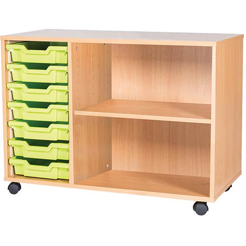 classroom 7 tray triple bay storage unit 697mm high