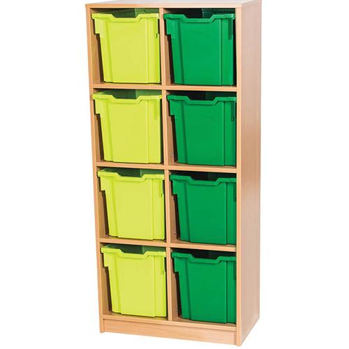 8 Jumbo Tray Double Bay Static Fixed Shelf Classroom Storage Unit