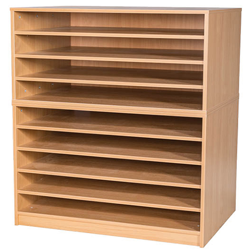 An image of A1 Mobile or Static Education Paper Storage Unit - 9 Fixed Shelves - maple,mobil...