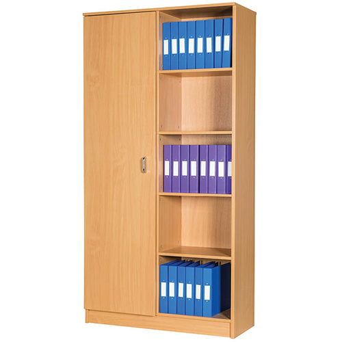 An image of Education Box File 50 Space Storage Unit with Side Cupboard - 2108mm High - mapl...