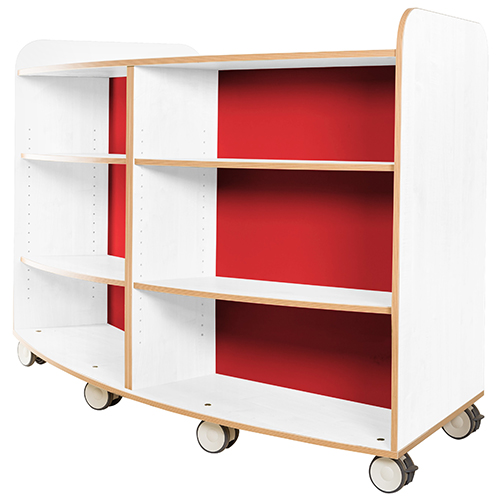 KubbyClass-Polar-School-Library-Curved-Mobile-Bookcase-1000mm-High-Red-Nobis-Education-Furniture