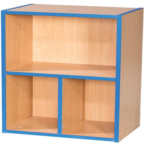 KubbyKurve-Two-Tier-1-+-2-School-Library-Shelf-Unit-700mm-High-Nobis-Education-Furniture