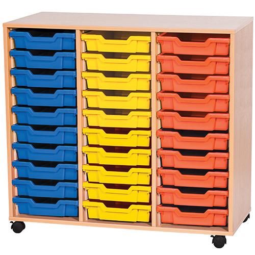 triple bay 30 tray calssroom storage unit