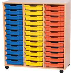 triple bay 36 tray classroom storage unit