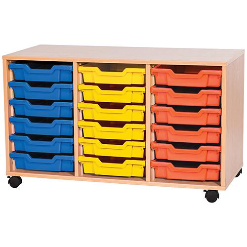 triple bay 18 tray classroom storage unit