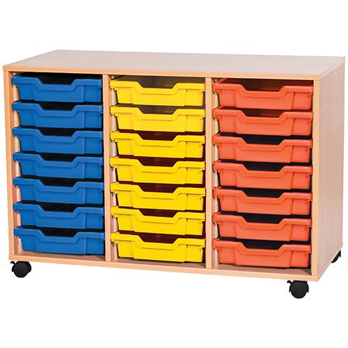 triple bay 21 tray classroom storage unit