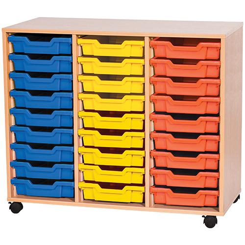 triple bay 27 tray calssroom storage unit