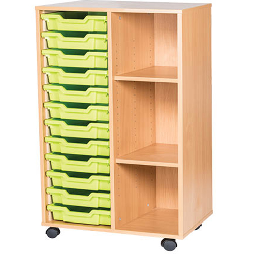 classroom 12 tray double bay mobile static storage unit 1107mm high