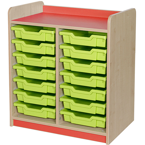 classroom double bay 14 tray storage unit red