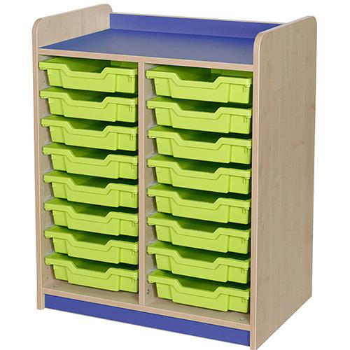 classroom double bay 16 tray storage unit blue