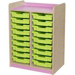 classroom double bay 18 tray storage unit red