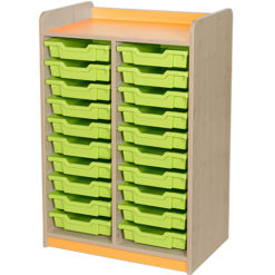 classroom double bay 20 tray storage unit orange
