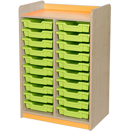 classroom double bay 20 tray storage unit orange