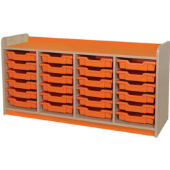 classroom quad bay 24 tray storage unit orange