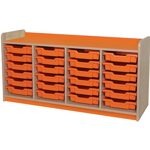 classroom quad bay 24 tray storage unit orange