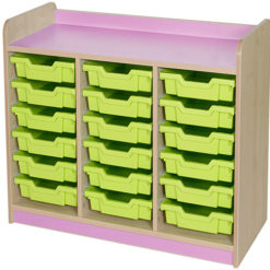 classroom triple bay 18 tray storage unit lilac