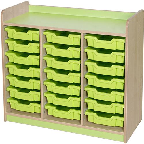 classroom triple bay 21 tray storage unit lime