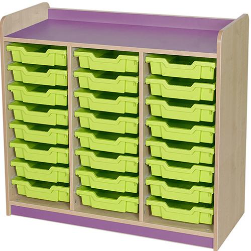classroom triple bay 24 tray storage unit purple
