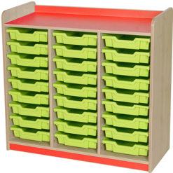 classroom triple bay 27 tray storage unit red