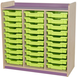 classroom triple bay 30 tray storage unit purple