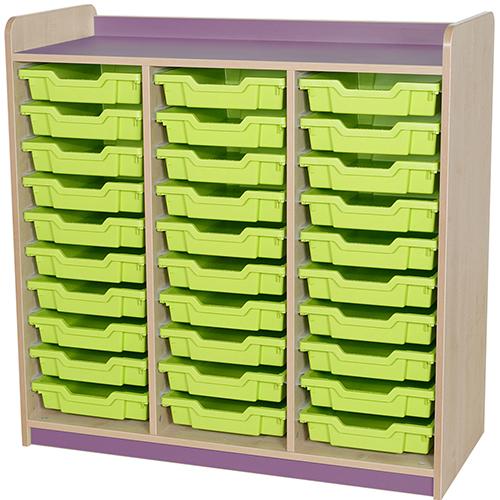 classroom triple bay 30 tray storage unit purple
