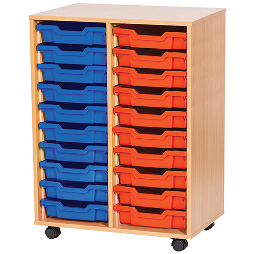 An image of 20 Tray Mobile or Static Double Bay Classroom Storage Unit - 943mm High - maple,...