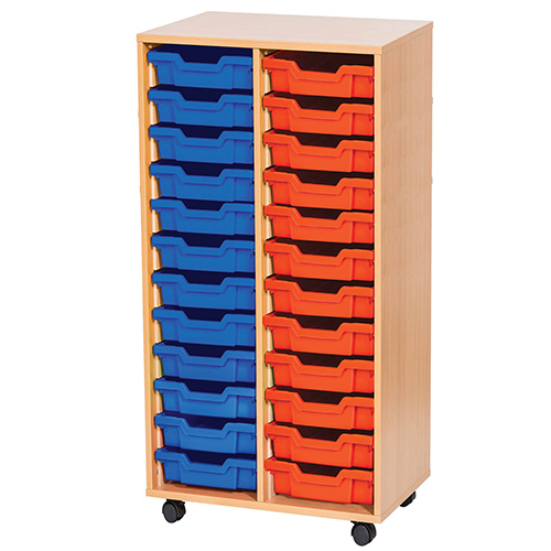 An image of 24 Tray Mobile or Static Double Bay Classroom Storage Unit - 1107mm High - white...