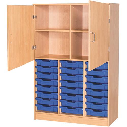 An image of 24 Tray Triple Bay Half Door Classroom Cupboard - 1510mm High - beech,static-doo...