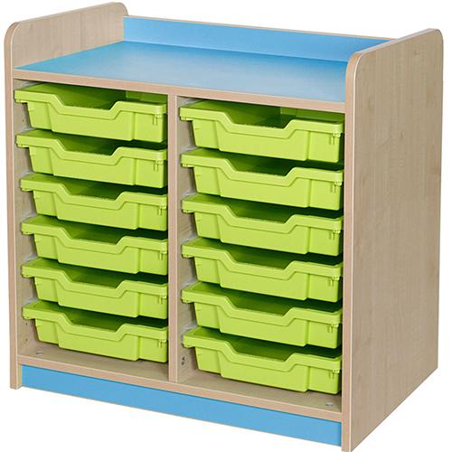 classroom double bay 12 tray storage unit light blue