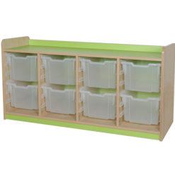classroom quad bay 8 extra deep tray storage unit lime
