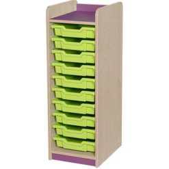 classroom single bay 10 tray storage unit purple